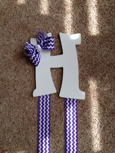 Purple and White Chevron Wooden Hairbow Holder by ThatsSewAudrey, $15.00