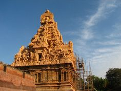 Sandstone Temple    Thanjavur - Tamil Nadu - South India.  Brihadishwara Temple (10th century). Tamil Nadu's most awesome Chola monument. The entrance gopuram were buit with famous Sandstone. Dedicated to Shiva.