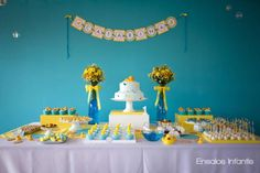 Yellow and Blue Rubber Duckie 1st Birthday Party - Rubber Duck Party - Kara's Party Ideas - The Place for All Things Party