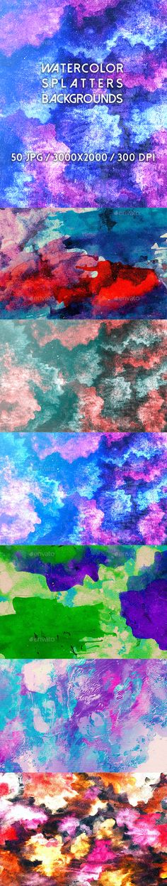 50 Watercolor Splatters Backgrounds by kauster- 50 Watercolor Splatters Backgrounds This pack includes 50 Watercolor Splatters Backgrounds. Suitable for printing, web design, ban