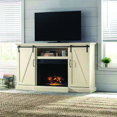 Top 2019 fireplace tv stand decor ideas one and only homeeideas.com White Electric Fireplace, Wall Mount Electric Fireplace, Electric Fireplaces, Electric Fireplace With Storage, Diy Fireplace, Fireplace Design, Fireplace Inserts, Tv Stand With Fireplace, Flat Design
