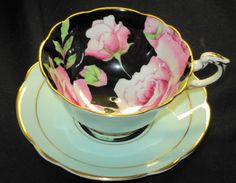 PARAGON HAND PAINTED PINK ROSES BLACK  TEA CUP AND SAUCER DEMI DEMITASSE