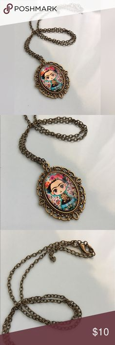 Little Frida Kahlo Necklace Charming and so fitting for a trendsetter! Vintage look style chain and pendent edge. Adorable little Frida Kahlo graphics is perfect for fashion fun! Celebrate Frida July usher birthday month! Look for festivities near you! Adult, tween, Teen, any age will add charm to your attire! Accessories Jewelry