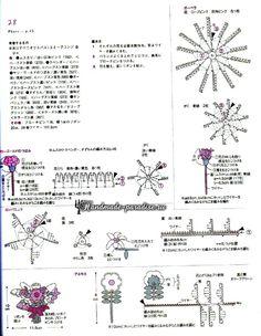 Миниатюрные букетики цветов крючком. Схемы (8)