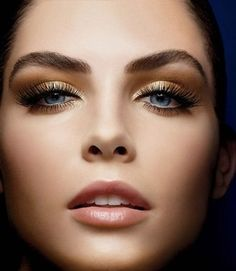 lashes gold shimmer shadow. Makeup thats great for blue eyes