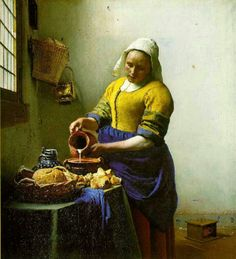 """Vermeer's """"The Milkmaid""""-1658-60. We can see more than one complementary color. We have blue and orange, and yellow and purple. This can also be an example of a split complements.  This is one of my favorite complementary paintings."""