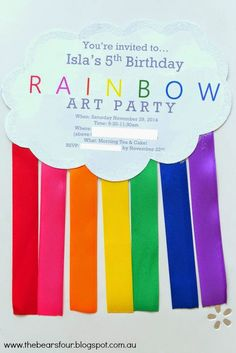 I've been meaning to write a post on this for a few months now but other things ended up taking precedence and I just never got around to. Rainbow Art, Art Party, Tea Cakes, Youre Invited, 5th Birthday, Party Time, Rsvp, Invitations, Save The Date Invitations
