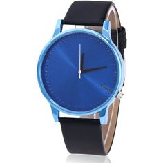 Faux Leather Strap Minimalist Quartz Watch Blue And Black (280 INR) ❤ liked on Polyvore featuring jewelry, watches, blue jewellery, blue jewelry, quartz jewelry, blue quartz jewelry and quartz wrist watch