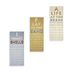 These fun Raised Icon Eye Chart Wall Plaques bring a fun coastal accent to your home decor. Each piece features an inspirational paean to beach living that will give your room a playful and friendly shore-themed touch.