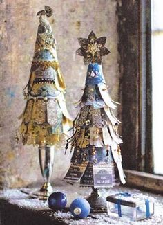 paper scrap trees-i like the bases of these...note to self...look for some vintage tarnished candle sticks or small compotes to use in this way