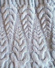 """Узор """"Пшеничные колоски"""". Схема вязания спицами"""