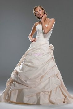 A-Line/Princess Strapless Natural Long/Floor-length Garden/Outdoor Wedding Dresses With Pick-Ups WD2A58