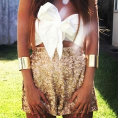 Obsessed with this outfit cloth, crop tops, sequin, dress, high waisted shorts, summer outfits, bandeau, closet, big bows
