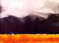 Rain comming. Watercolor artist John Overgaard Rain Storm, Painting Process, Pictures To Paint, Watercolour, Vibrant Colors, Craft Ideas, Landscape, Artist, Nature