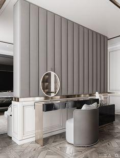 Project #GH_A_257 Apartment Interior Design Inspiration, Home Decor Inspiration, Interior Ideas, Condominium Interior, Modern Classic Interior, Showroom Interior Design, Dressing Room Design, Dressing Table, Modern Villa Design