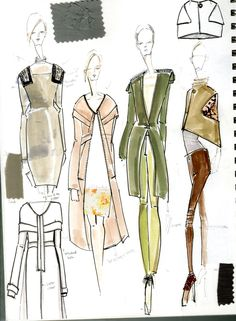 Fashion sketchbook - fashion design sketches, fabric swatches and design notes