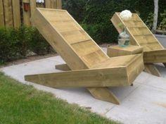 Ligstoel / strandstoel Steigerhout