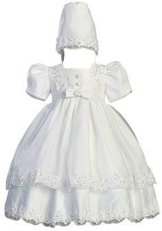 White Satin Christening Baptism Dress with Organza Overlay and Matching Bonnet - XL (18 Month)