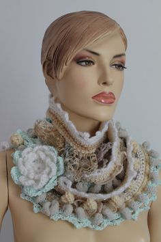 Long Ivory Pastel Crochet Scarf  with flower brooch by levintovich