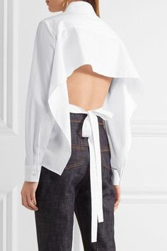 White cotton-poplin Partially concealed button fastenings through front  100% cotton Dry clean