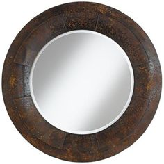 "Raleigh Textured Faux Metal 31 1/2"" Round Wall Mirror - #3V711 