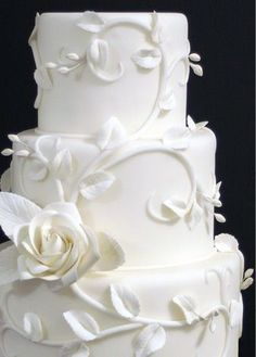 White Wedding Cakes Favorite cake design, but would like the rose colored like the other photos and a small rose gathering at the top. White Wedding Cakes, Beautiful Wedding Cakes, Gorgeous Cakes, Pretty Cakes, Amazing Cakes, Dream Wedding, Cake Wedding, Garden Wedding, Purple Wedding