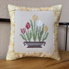 Finished Spring Cross Stitch Tuck Pillow, Cross Stitch Pillow by PinesAndNeedlework on Etsy Easy Cross, Simple Cross Stitch, Sewing Closet, Cross Stitch Pillow, Cross Stitch Finishing, Quilt Batting, Needlepoint Pillows, Small Pillows, Stitch 2