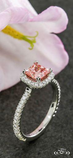 Blush Halo Engagement Ring. Green Lake Jewelry 110788