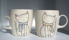 Pair of Handmade Ceramic Cat and Scarf Mugs - Made to Order