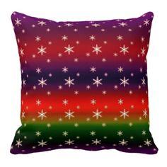 Snowflake on rainbow pattern background #pillow
