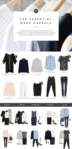 The Essential Work Capsule Wardrobe. 10 days worth of outfits. Capsule Wardrobe Work, Capsule Outfits, Fashion Capsule, Work Wardrobe Essentials, Office Wardrobe, Wardrobe Basics, Business Outfits, Office Outfits, Office Attire