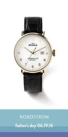 Love Shinola watches! Handcrafted and made in Detroit. Such a heritage brand with so much tradition. This classic watch with the white face, gold numbers and black leather strap is the perfect Father's Day gift for dad.