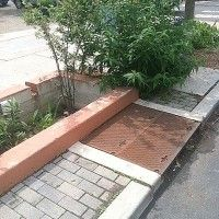 Stormwater grate attached to infiltration planter and trench on 13th st at Columbus Square Park