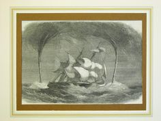 """Stampa antica di mare. - Antique barque print -1859  from"""" The Illustrated London News""""."""