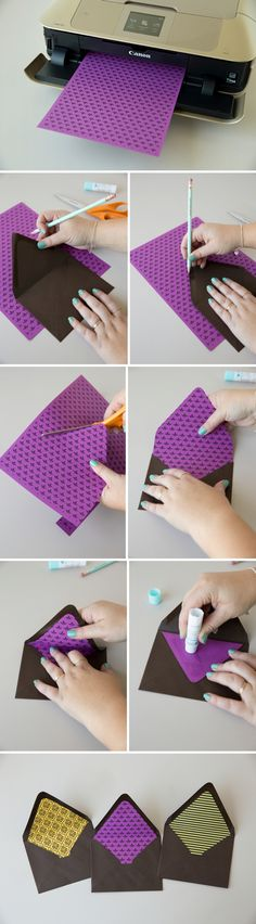 How to make your own envelope liner with free printable designs! #craftywithcanon
