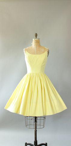 Vintage 50s E.T. Jrs. California yellow cotton spaghetti strap sundress. Full skirt. Metal zipper up back. Crinoline worn underneath skirt in