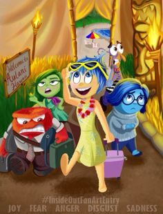 And here is my fourth and newest submission for last week's fan art entry! Emotions on Vacation! - Inside Out Disney Pixar Movies, Kid Movies, Disney Toys, Disney Cartoons, Disney Characters, Movie Inside Out, Disney Inside Out, Disney Fan Art, Frame By Frame Animation