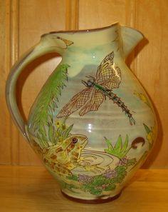 Maureen Minchin pitcher, frog & dragonfly http://dovegreyreader.typepad.com/photos/uncategorized/dragonfly_jug.jpg
