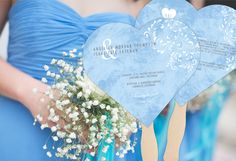 Crush on Watercolor Wedding Program Fans personalized in blue
