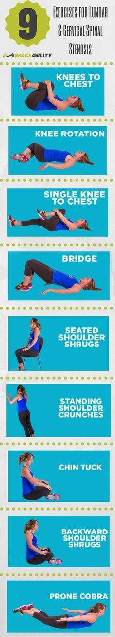 The best exercises for spinal stenosis of the lower back focus on improving range of motion, strength, stability and endurance. Try these 9 exercises to help relieve your lumbar back pain caused by spinal stenosis.   BraceAbility