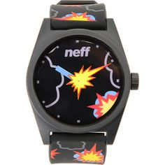"""The Neff Daily Pow analog watch blends superb functionality with Neff style. Featuring a large analog display with """"pow"""" explosion hand and an adjustable black strap with an allover """"pow"""" explosion graphic. An ABS stainless steel reinforced back, 5 ATM water-resistance and protective case help protect your watch from your antics. Skate without fear of breaking your watch with the stand out look of the Neff Daily Pow analog watch.  $34.95"""