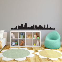 San Diego Skyline Silhouette  Wall Decal Custom by danadecals, $18.00