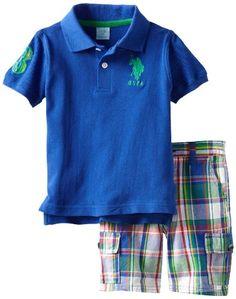 U.S. Polo Assn. Boys 2-7 Solid Polo with Plaid Short, Cobalt Blue, 2T