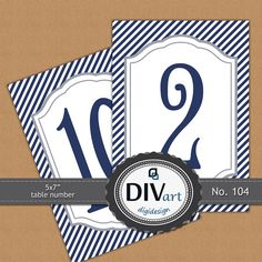 PRINTABLE 5x7 Table Number Cards, Menu, Program - navy, nautical - by DIVart