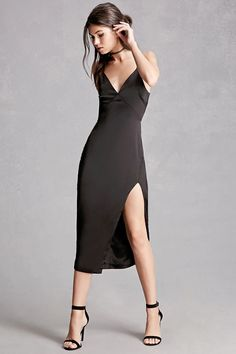 A satin slip dress featuring a V-neckline, adjustable cami straps, a side slit, and a concealed back zipper. This is an independent brand and not a Forever 21 branded item.