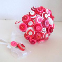 Red and Pink Button Bridal Bouquet Alternative Bouquet Wedding Faux Flowers Artificial $62 #Wedding #Art #Design #Events #Fashion #IDo #FollowMe #Gift #Homemade #Unique #Decor #Sweet #WeddingWonderland #BridalShower #Craft #WeddingFlowers #Bouquet #Nontraditional #Flowers #Love #Bridal #Red #Pink #Valentines #Christmas #fun #candyland #peppermint