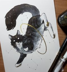 No description of the photo. Pretty Art, Cute Art, Animal Drawings, Cool Drawings, Dessin Old School, Posca Art, Mythical Creatures Art, Cat Tattoo, Cat Drawing