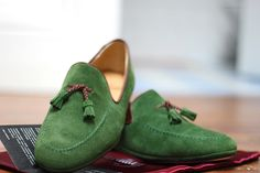 Green Suede Tassel Loafers by Farfalla