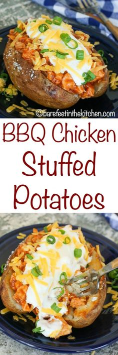 BBQ Chicken Potatoes are a HUGE favorite! get the recipe at barefeetinthekitc… BBQ Chicken Potatoes are a HUGE favorite! get the recipe at barefeetinthekitc… Chicken Potato Bake, Chicken Potatoes, Garlic Chicken, Baked Chicken, Barbacoa, Bbq Chicken Sides, One Pot Meals, Easy Meals, Stuffed Baked Potatoes