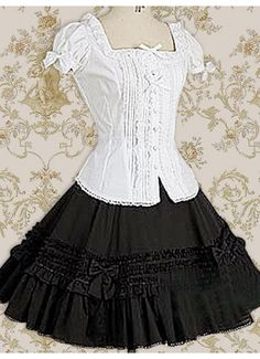 Classic Cotton Square Short Sleeves Knee-length Ruffles Bow Classic Lolita Dress With Ruffles